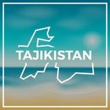 Tajikistan mapy szorstki kontur przeciw tłu Fotografia Stock