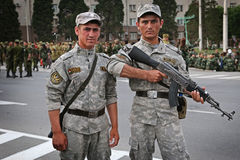 Tajikistan: Military parade in Dushanbe. Tajik soldiers waiting and preparing for military parade in Dushanbe royalty free stock image