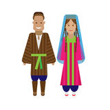 Tajikistan national dress. Illustration of national costume on white background Royalty Free Stock Photo