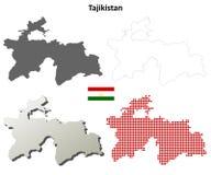 Tajikistan outline map set Royalty Free Stock Image