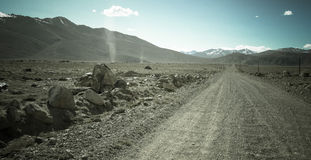 Tajikistan. Pamir highway. Road to the clouds. Toned Stock Photography