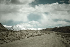 Tajikistan. Pamir highway. Road to the clouds. Toned Stock Images