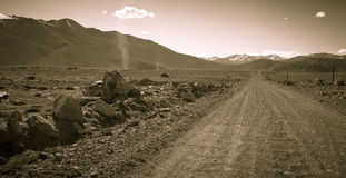Tajikistan. Pamir highway. Road to the clouds. Toned Stock Image