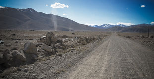 Tajikistan. Pamir highway. Road to the clouds. Toned Royalty Free Stock Photo