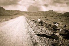 Tajikistan. Pamir highway. Road to the clouds. Toned Royalty Free Stock Image