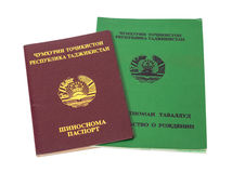 Tajikistan passport and birth certificate Royalty Free Stock Photography