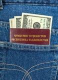 Tajikistan passport and dollar bills in the jeans pocket Royalty Free Stock Photo