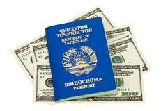 Tajikistan passport and money Stock Photo