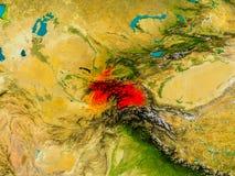 Tajikistan on physical map Stock Photography