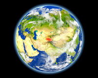 Tajikistan in red from space Royalty Free Stock Photography