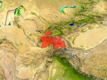 Tajikistan in red Stock Image