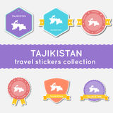 Tajikistan travel stickers collection. Stock Image