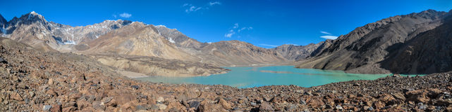 Tajikistan turquoise lake panorama Royalty Free Stock Photo