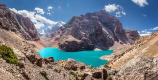 Free Tajikistan, View From The Rock To Great Allo Lake With Narrow Valley Among Fan Mountains Royalty Free Stock Photos - 169425208