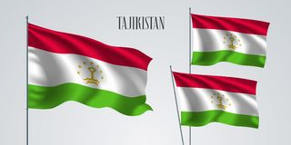 Tajikistan waving flag set of vector illustration. White red colors of Tajikistan wavy realistic flag as a patriotic symbol Stock Image