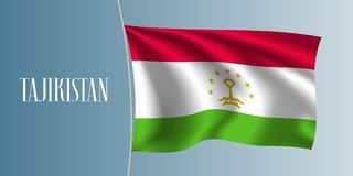 Tajikistan waving flag vector illustration. Iconic design element as a national Tajik symbol Royalty Free Stock Images