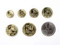 Tajikistani coins. On a white background stock images
