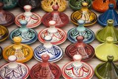 摩洛哥人Tajines在马拉喀什 免版税库存照片
