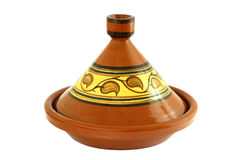 Tajine. Moroccan Tajine isolated on white, oriental pot for cooking Stock Photos