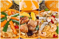 Tajine collage. With three types of preparation, meat, fish and vegetables Royalty Free Stock Photo