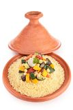 Tajine con cuscus vegetariano Fotografia Stock