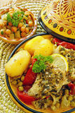 Tajine marocain de poissons de chermoula Photographie stock libre de droits