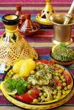 Tajine marocchino dei pesci di chermoula Immagini Stock Libere da Diritti