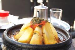 Tajine of meet with vegetables. Morocco national dish - tajine of meet with vegetables Stock Photography