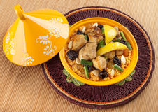 Tajine, Moroccan food. Tajine, Moroccan food, cous cous, chicken with lemon confit Stock Photos