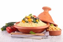 Tajine with vegetarian couscous Royalty Free Stock Photography