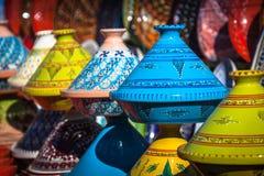 Tajines в рынке, Marrakesh, Марокко Стоковая Фотография
