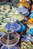 Tajines в рынке, Marrakesh, Марокко Стоковое Изображение