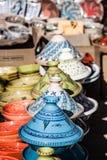 Tajines в рынке, Marrakesh, Марокко Стоковые Изображения