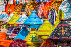 Tajines in de markt, Marrakech, Marokko Royalty-vrije Stock Foto