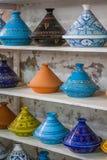 Tajines i marknaden, Marrakesh, Marocko Arkivfoto