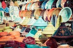 Tajines i marknaden, Marrakesh, Marocko Arkivbilder
