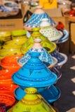 Tajines i marknaden, Marrakesh, Marocko Royaltyfria Foton
