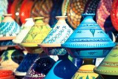 Tajines i marknaden, Marrakesh, Marocko Arkivfoton