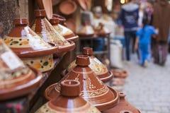 Tajines i marknaden, Marrakesh, Marocko Royaltyfria Bilder