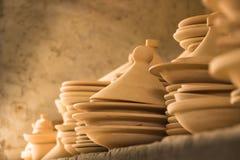 Tajines no mercado, C4marraquexe, Marrocos Fotografia de Stock