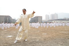 Tajiquan performance. Many taijiquan practicers are performancing in opening ceremony of lianyungang city Games Scene is very spectacular royalty free stock images