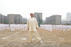 Tajiquan performance. Many taijiquan practicers are performancing in opening ceremony of lianyungang city Games Scene is very spectacular stock photos