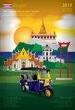 Tajlandia Bangkok podr??y projekta Plakatowy szablon obrazy stock