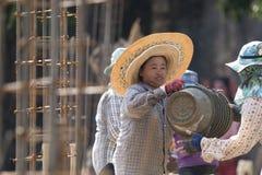 TAJLANDIA CHIANG RAJA budowy kobiet pracownik Zdjęcie Stock