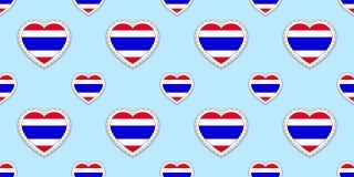 Tajlandia chorągwiany bezszwowy wzór Wektorowi Tajlandzcy flaga majchery Miłość serc symbole Tekstura dla językowych kursów, spor ilustracji