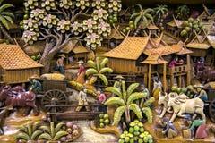 Tajlandia cyzelowania drewniana sztuka obrazy royalty free