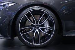 Tajlandia, Dec -, 2018: zamyka w górę Mercedez benz AMG CLS 53, czarnej Michelin opony i aliażu mag koła, zdjęcie stock