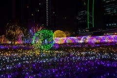 Tajlandia iluminaci festiwal 2017 na Ratchadapisek Soja 8, Bangkok, Tajlandia na December21,2017: Zaświeca up choinki i luminou Obrazy Stock