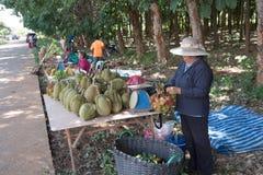 TAJLANDIA June-07: Owocowi hodowcy sprzedają ich swój owocowego sta Fotografia Royalty Free