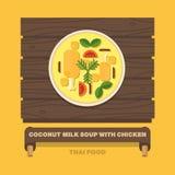 Tajlandia krajowi naczynia, Kokosowego mleka polewka z kurczakiem Fotografia Royalty Free